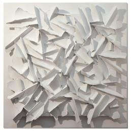 E.C. VIII-1-2019, Eugenio Galli. Opera astratta di colore bianco su tavola bianca