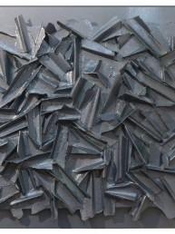 E.C. VIII-2-2019, Eugenio Galli. Opera astratta di colore grigio su tavola grigia