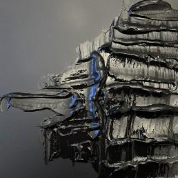 Thick Back, Letteria Russo. Opera su tela in acrilico nero e blu