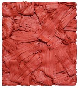 Pensieri rossi, Giovanni Fava. Opera astratta composta da stringhe rosse e scritte