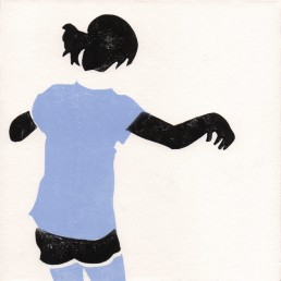 Esercizi di Forma N°1, Antonio Bernardo. Linoprint su tela ritraente una bambina che balla