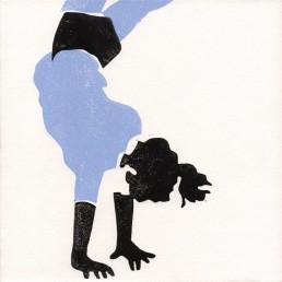 Esercizi di Forma N°2, Antonio Bernardo. Linoprint su tela ritraente una bambina in verticale