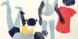Esercizi di forma, Antonio Bernardo. Opera ritraente quattro bambine intente in un movimento corporeo come se stessero ballando