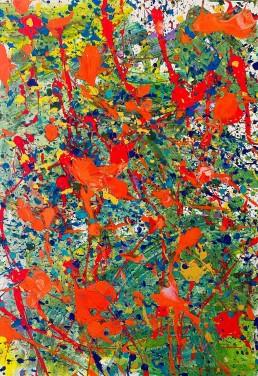 La Primavera del 2020, Noah. Opera astratta di tempere multicolore su tela